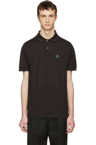 Paul Smith - Black Floral Smiley Polo
