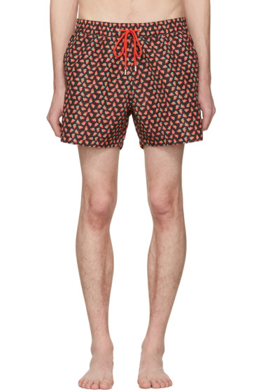 Paul Smith - Black Strawberry Skull Swim Shorts