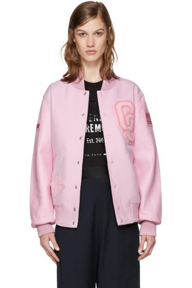 Opening Ceremony - Pink Varsity Bomber Jacket