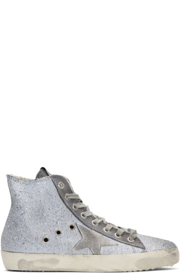 Golden Goose - Grey Glitter Francy High-Top Sneakers