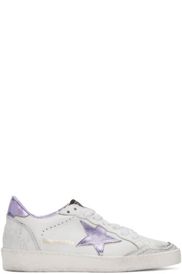 Golden Goose - White & Purple Ball Star Sneakers