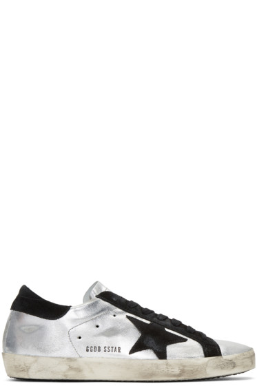 Golden Goose - Silver & Black Superstar Sneakers