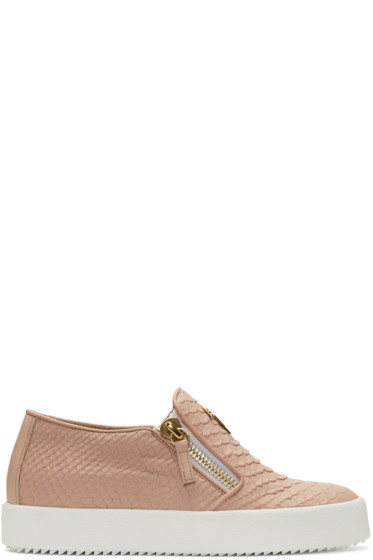 Giuseppe Zanotti - Pink Snake-Embossed London Slip-On Sneakers