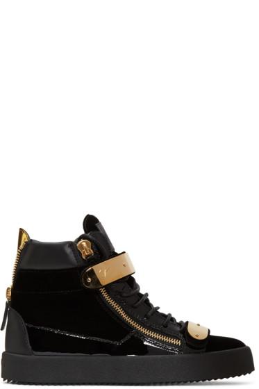 Giuseppe Zanotti - Black Velvet London High-Top Sneakers