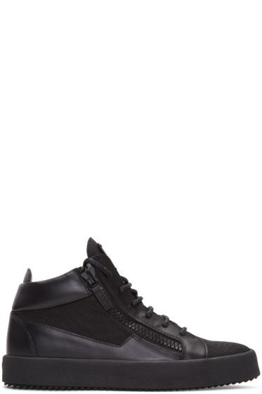 Giuseppe Zanotti - Black Leather & Mesh London High-Top Sneakers