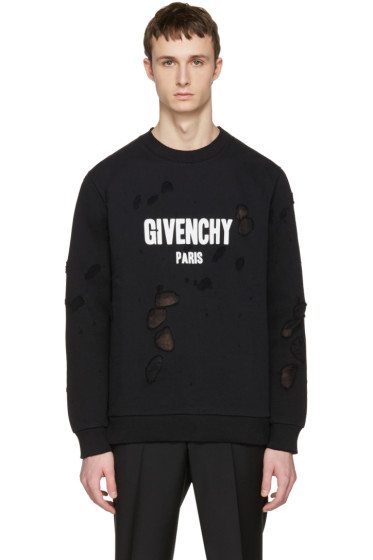 Givenchy - Black Destroyed Logo Pullover