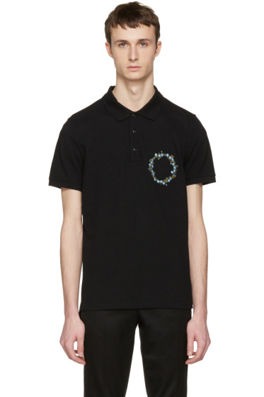 Givenchy - Black Floral Crest Polo