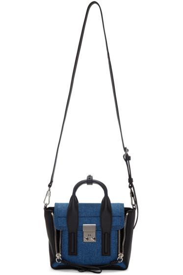 3.1 Phillip Lim - SSENSE Exclusive Black & Indigo Denim Mini Pashli Satchel