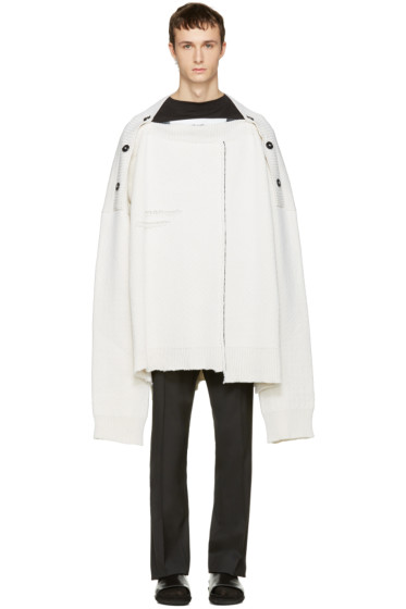 Raf Simons - White Oversized Distorted Straight-Neck Sweater