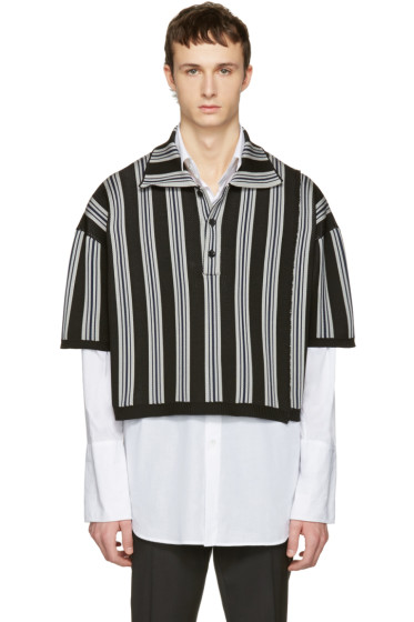 Raf Simons - Black & Grey Stripe Oversized Cropped Polo