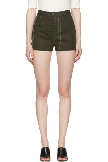 Proenza Schouler - Green Printed Canvas Shorts