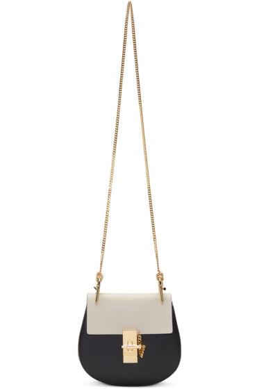 Chloé - Black & Ivory Mini Drew Saddle Bag