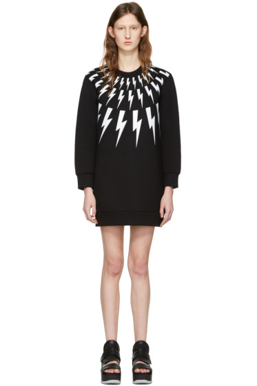 Neil Barrett - Black Thunderbolt Fairisle Dress