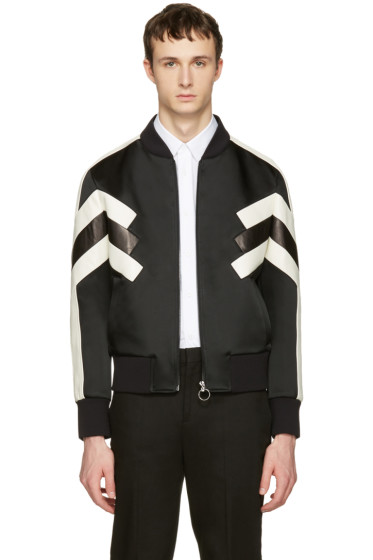 Neil Barrett - Black Panelled Modernist Bomber Jacket
