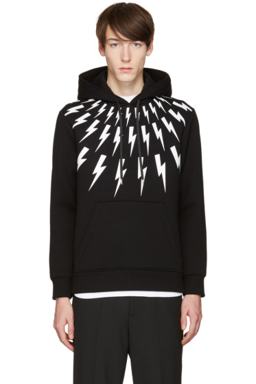 Neil Barrett - Black & White Thunderbolt Hoodie