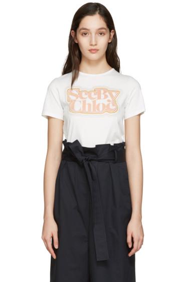 See by Chloé - White Logo T-Shirt