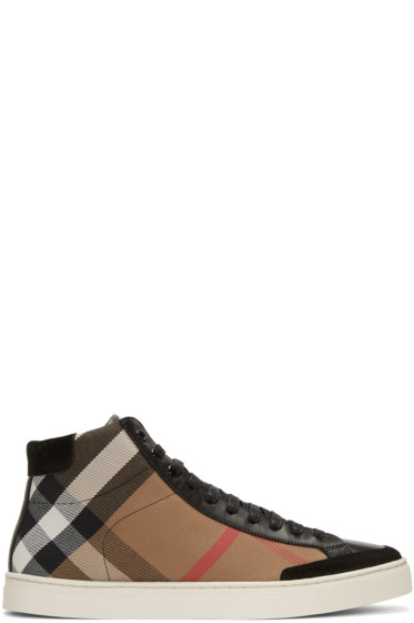 Burberry - Black Painton Check High-Top Sneakers