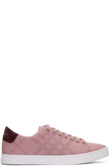 Burberry - Pink Perforated Check Albert Sneakers