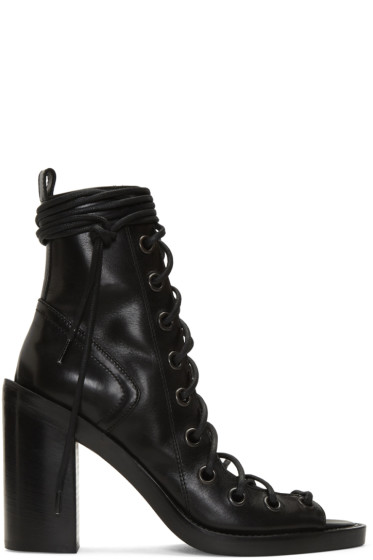 Ann Demeulemeester - Black Lace-Up Sandals