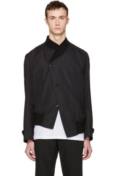 Ann Demeulemeester - Black Asymmetric Bomber Jacket