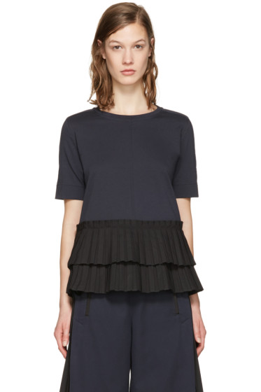 Marni - Navy Frilled Hem T-Shirt