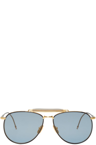 Thom Browne - Navy & Gold TB 015 Limited Edition Aviator Sunglasses