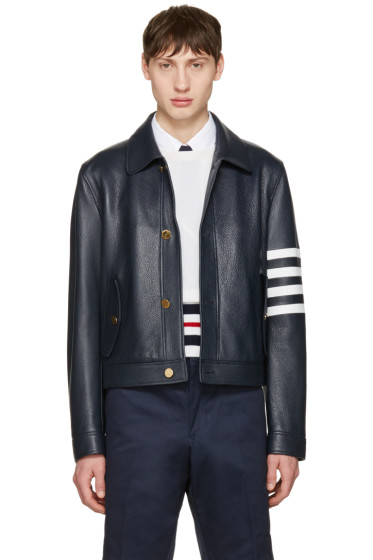 Thom Browne - Navy Leather Harrington Jacket