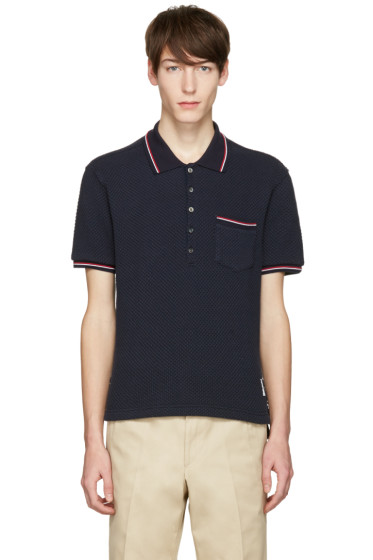 Thom Browne - Navy Pocket Polo