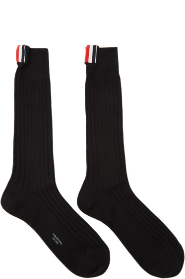 Thom Browne - Black Ribbed Socks