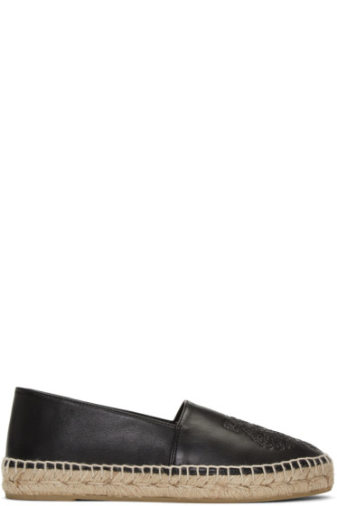 Kenzo - Black Leather Tiger Espadrilles