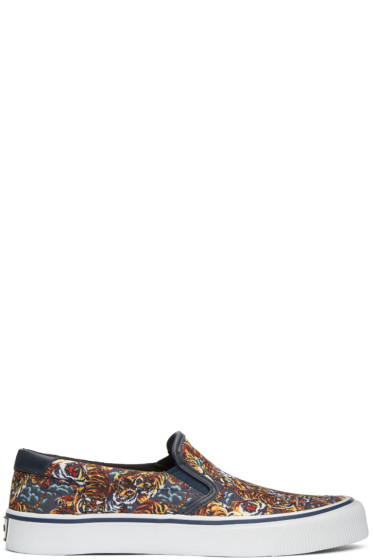 Kenzo - Navy Flying Tiger Slip-On Sneakers