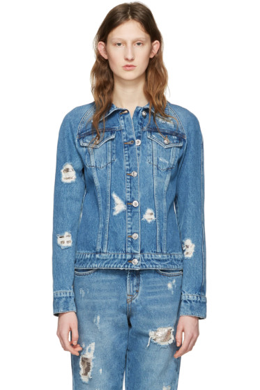 Versus - Blue Distressed Denim Jacket