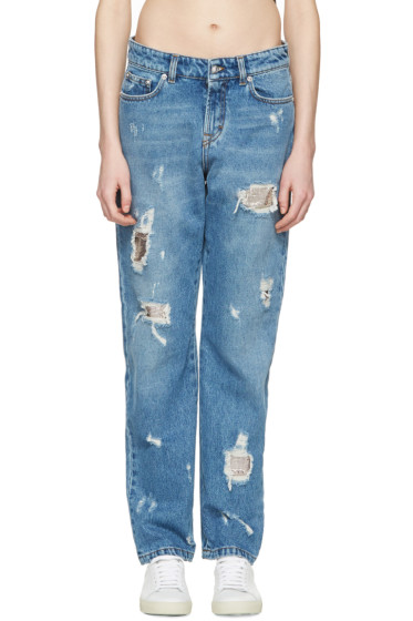 Versus - Blue Distressed Boyfriend Jeans