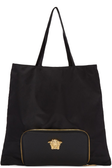 Versace - Black Convertible Nylon Tote