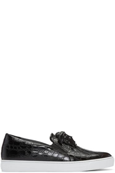 Versace - Black Croc-Embossed Medusa Slip-On Sneakers