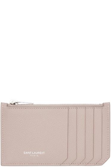Saint Laurent - Pink 5 Fragments Zip Card Holder