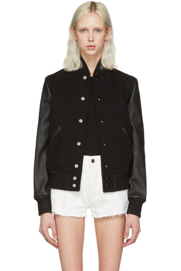 Saint Laurent - Black Teddy America Bomber Jacket