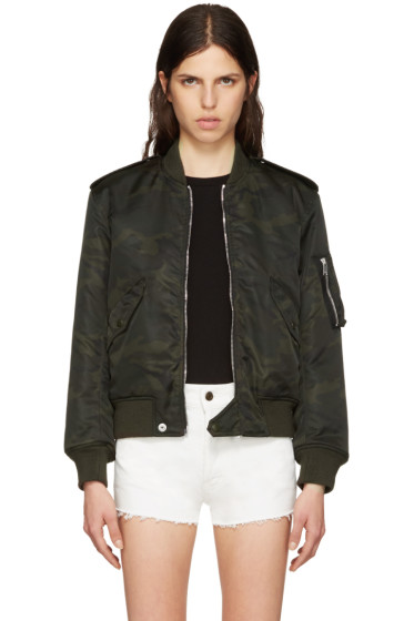 Saint Laurent - Green Camo Aviator Bomber Jacket