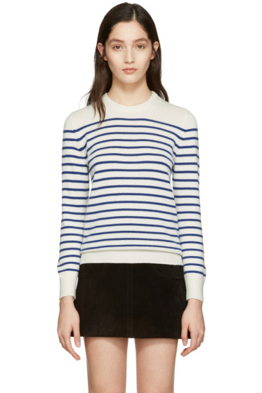 Saint Laurent - Ivory Grunge Striped Sweater