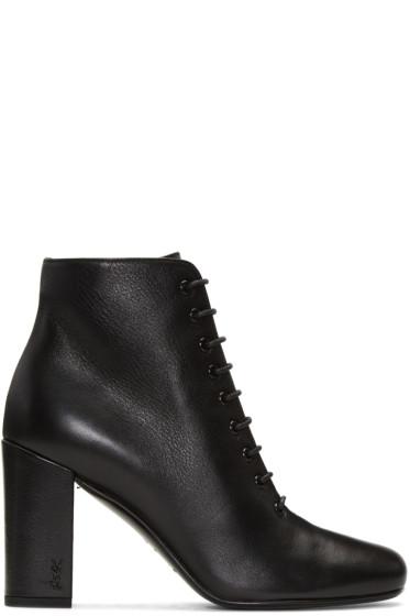 Saint Laurent - Black Lace-Up Babies Boots