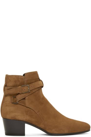 Saint Laurent - Tan Suede Blake Jodhpur Boots