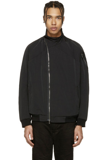 Julius - Black Asymmetric Bomber Jacket