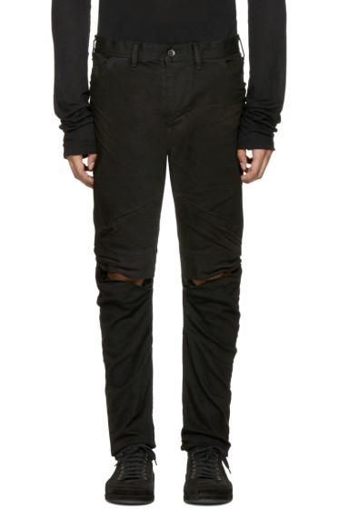 Julius - Black Coated Slit Knees Jeans