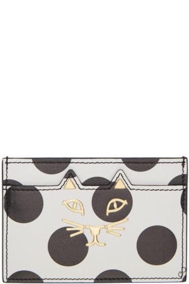 Charlotte Olympia - White Polka Dot Feline Card Holder