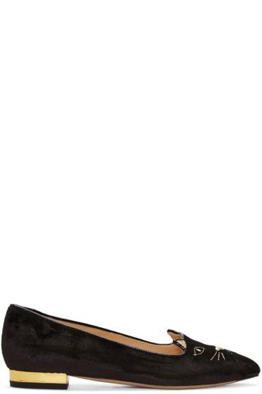 Charlotte Olympia - Black Velvet Mid-Century Kitty Flats