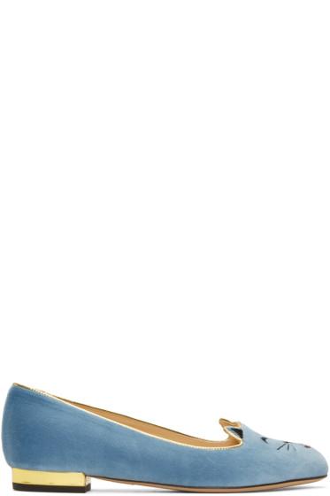 Charlotte Olympia - Blue Velvet Cheeky Kitty Flats