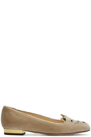 Charlotte Olympia - Taupe Velvet Cheeky Kitty Flats