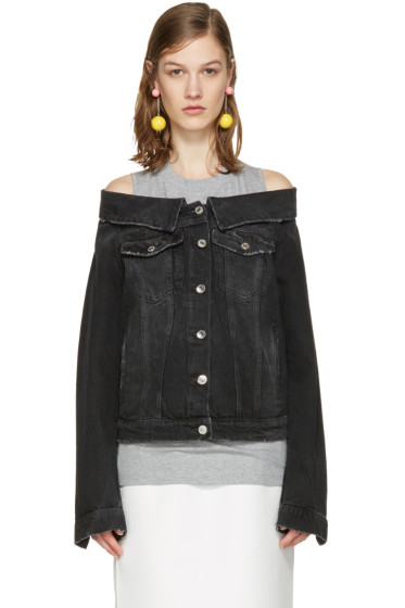 MSGM - Black Off-The-Shoulder Denim Jacket