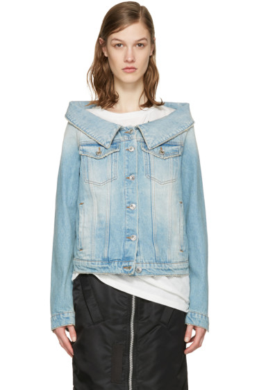MSGM - Blue Off-The-Shoulder Denim Jacket