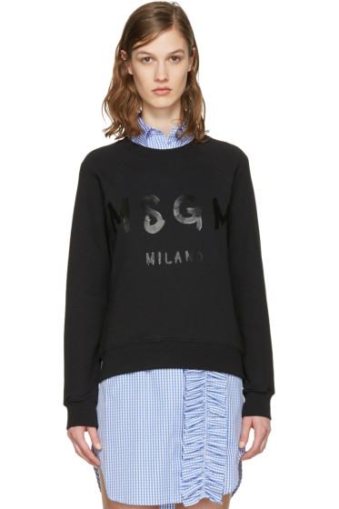 MSGM - Black Drawn Logo Pullover